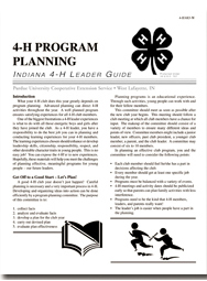 Indiana 4-H Leader Guide:  4-H Program Planning