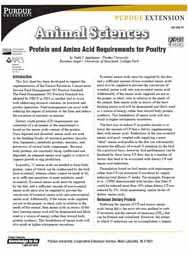 Protein and Amino Acid Requirements for Poultry