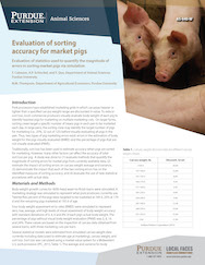 Evaluation of sorting accuracy for market pigs: evaluating statistics