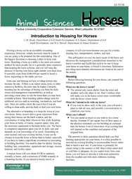 Introduction to Housing for Horses