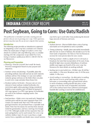 Indiana Cover Crop Recipe: Post Soybean, Going to Corn: Use Oats/Radish
