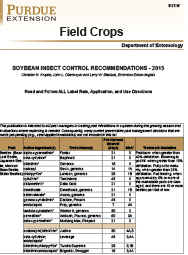 Field Crops: Soybean Insect Control Recommendations - 2015