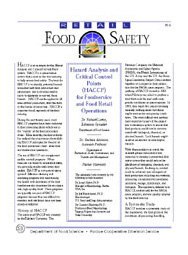 Hazard Analysis Critical Control Point (HACCP) for Foodservice and Food Retail Operations