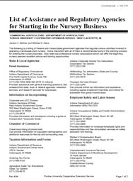 List of Assistance and Regulatory Agencies for Starting in the Nursery Business