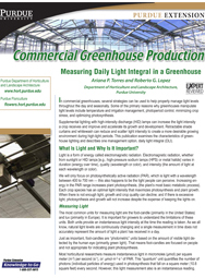 Commercial Greenhouse Production: Measuring Daily Light Integral in a Greenhouse