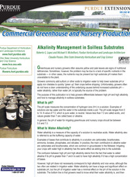 Commercial Greenhouse and Nursery Production: Alkalinity Management in Soilless Substrates