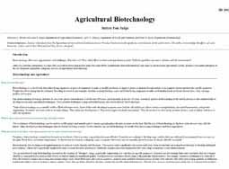Agricultural Biotechnology: Before you judge