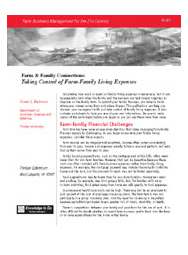 Taking Control of Farm Family Living Expenses