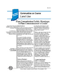 Plan Commission Public Hearings: A Plan Commissioner's Guide