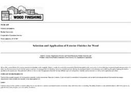 Selection and Application of Exterior Finishes for Wood