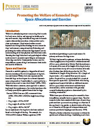 Promoting the Welfare of Kenneled Dogs: Space Allocations and Exercise