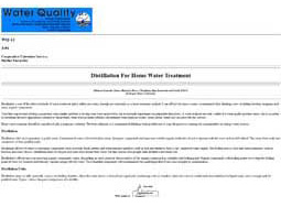 Distillation for Home Water Treatment