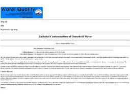 Bacterial Contamination of Household Water