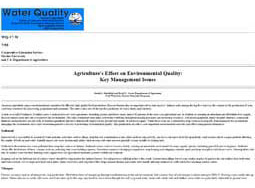 Agriculture's Effect on Environmental Quality: Key Management Issues