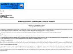 Land Application of Municipal & Industrial Biosolids