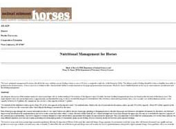 Nutritional Management for Horses